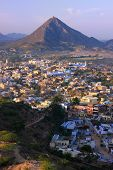 image of saraswati  - Aerial view of Pushkar city Rajasthan India - JPG