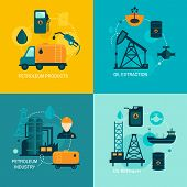 foto of fuel tanker  - Oil industry business concept of gasoline diesel production fuel distribution and transportation four icons composition vector illustration - JPG