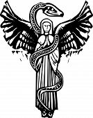 stock photo of serpent  - Woodcut style image of an Angel wrapped in a serpent - JPG
