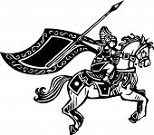 image of valkyrie  - Woodcut style image of a Norse viking Valkyrie riding a horse - JPG