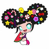 image of chibi  - Little funny girl in the style of Japanese anime and kawaii with chicken on head and with different hair clips in the form of fruits - JPG