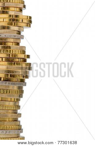 stack of money coins against white background, photo icon for saving, thrift, small savers