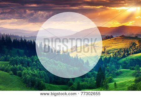 Beautiful hills glowing by sunlight at twilight. Dramatic scene. Carpathian, Ukraine, Europe. Beauty world. Creative design. Write your text. Retro style, vintage filter. Instagram toning effect.