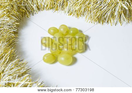 Twelve Grapes, That Are Eaten In Spain To Celebrate The New Year.