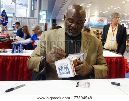 Lawrence Taylor, New York Giants linebacker and Hall of Famer, during autographs session in New York