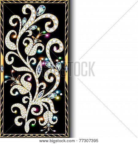 Background With Ornaments Of Gold And Precious Stones With Space For Text