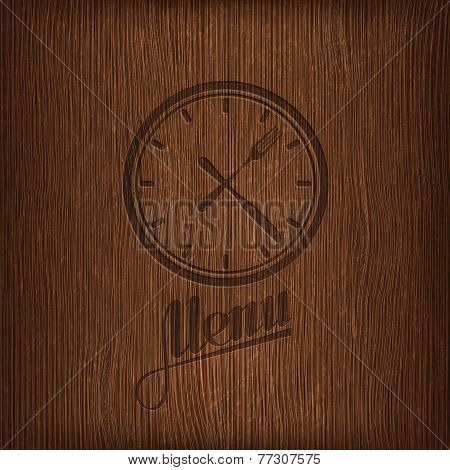 restaurant menu design with lunch time icon on wood background