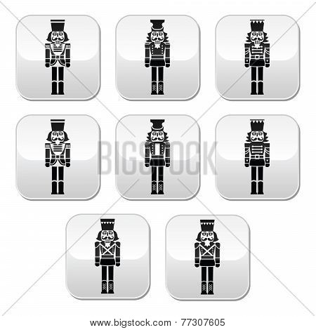 Christmas nutcracker - soldier figurine grey buttons set