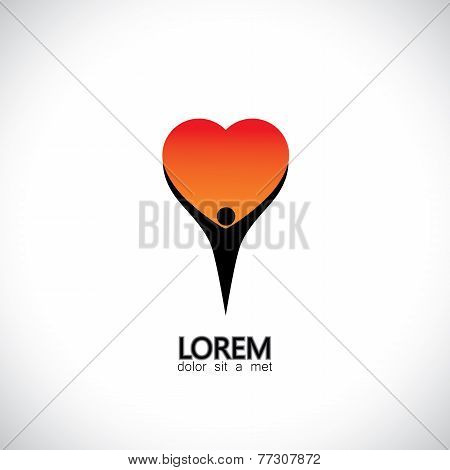 Icon For Personality, Self Love, Compassion, Empathy - Concept Vector
