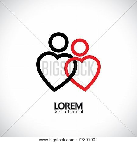 Icons Of Loving Couple, Soul Mates, Lovers - Concept Vector Graphic