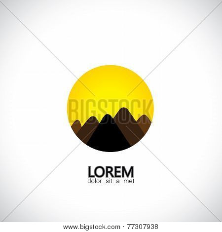Abstract Hills And Mountain Ranges And Evening Sky Icon - Concept Vector Graphic