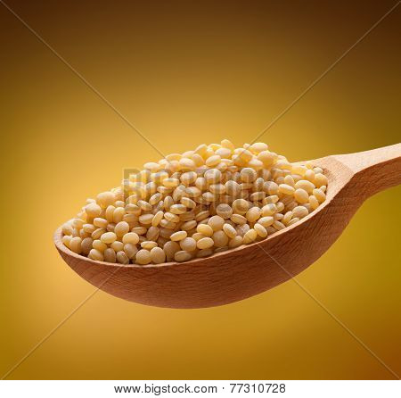 Cuscus in a wooden spoon