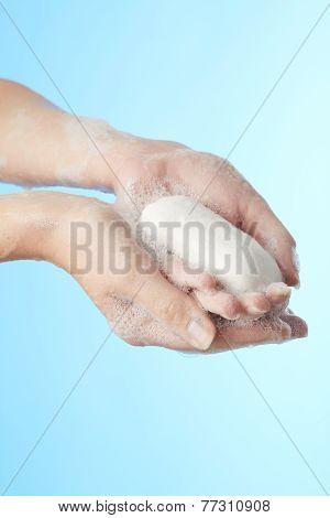 Woman's Hands In Foam Of Shower Gel With Soap