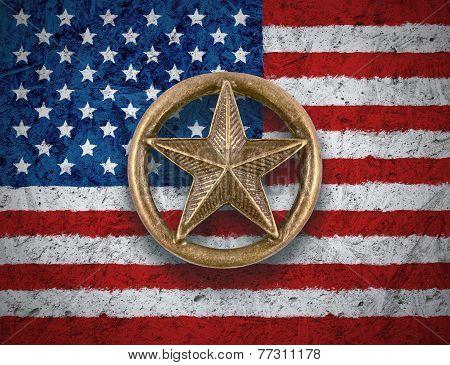 Bronze Star On Us Flag Background
