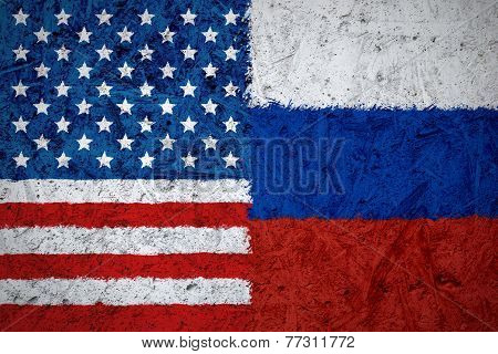Usa And Russian Flags