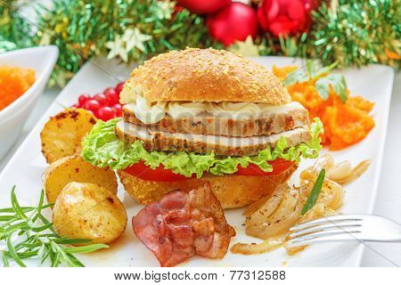 Christmas leftovers concept - Turkey meat Sandwich