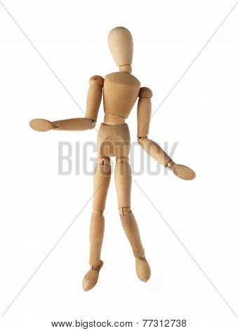mannequin old wooden dummy surprise or suspect acting post isolated on white