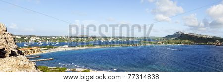 Panoramic view of Caracas Bay and Spanish Water, Curacao
