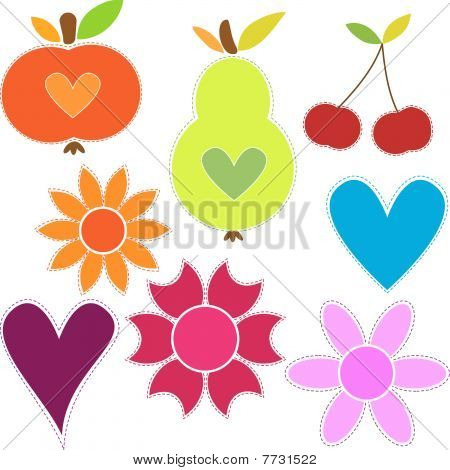Fruits, flowers, hearts