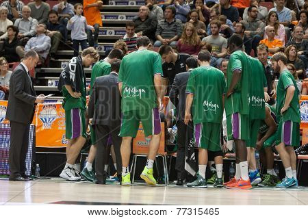VALENCIA, SPAIN - NOVEMBER 23:  Unicaja Players during Spanish League game between Valencia Basket Club and Unicaja Malaga at Fonteta Stadium on November 23, 2014 in Valencia