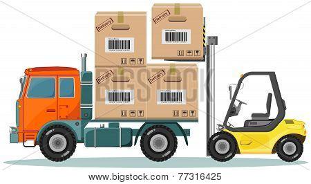 Loader Sinker Boxes in the Truck, Vector Illustration