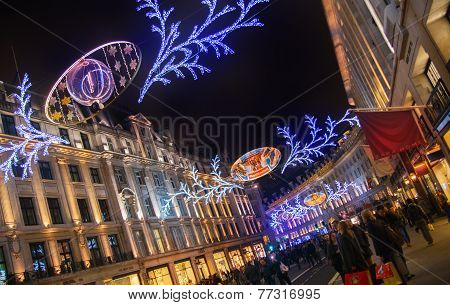 Regent street in Christmas lights, London