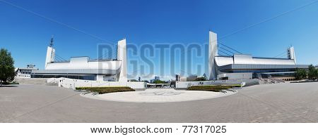 Beijing,China-July 13,2014:the national olympic stadium exterior.The marathon race was hold there during 2008 Beijing olympic game.