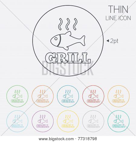 Fish grill hot icon. Cook or fry fish symbol.