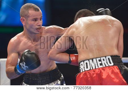 NOVOSIBIRSK, RUSSIA - NOVEMBER 29, 2014: Match Romero Marin (right) of Mexico vs Abdelkader Chadi of Algeria during AIBA Pro Boxing tournament. The winners will go to the Olympics-2016