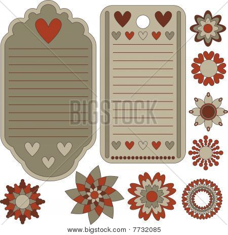 Beautiful vector tags and floral ornaments