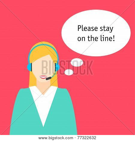 Conceptual Illustration With Avatar Icon Of Faceless Woman Working In Call Center