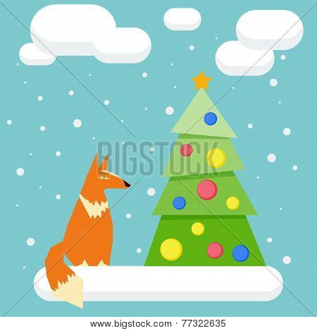 Winter Holidays Card With Funny Cartoon Fox And Spruce