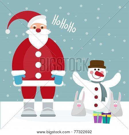 Funny Cartoon Winter Holidays Card With Santa, Rabbits And Cute Snowman