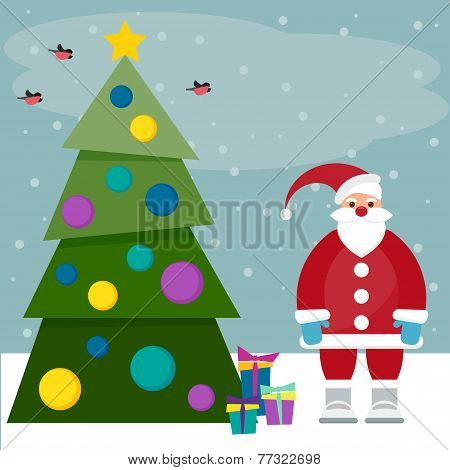 Funny Cartoon Winter Holidays Background With Santa, Spruce, Bullfinches And Gifts
