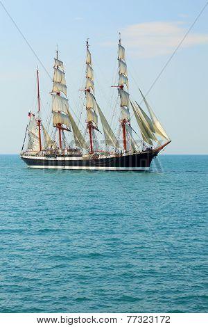 old sailing ship on the high seas