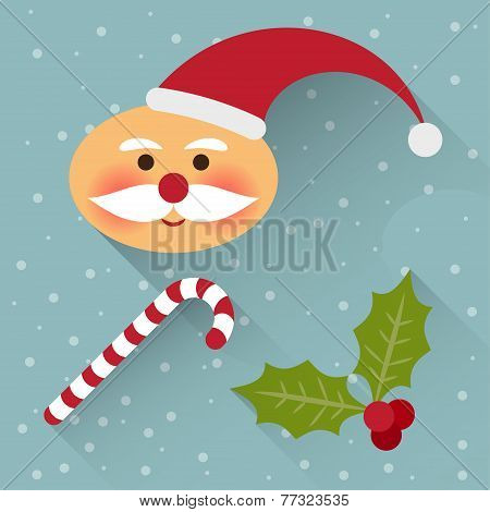 Funny Cartoon Winter Holidays Background With Cute Santa Claus, Lollipop And Branch Of Holly Isolate