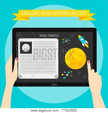 Vector Illustration Concept Of Hands Holding Modern Digital Tablet And Pointing On A Screen With Cos