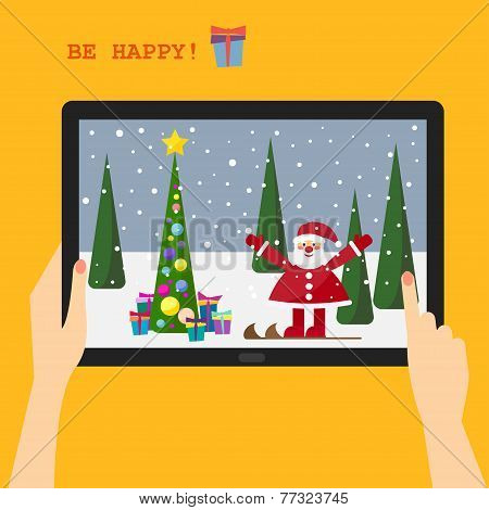 Holiday Greeting Card With A Smiling Santa