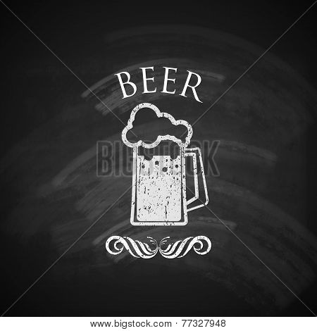 vintage beer pint glass with chalkboard texture. vector illustration
