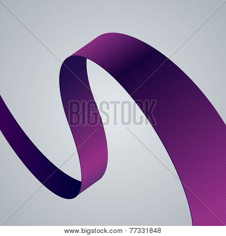 Purple fabric curved ribbon on grey background