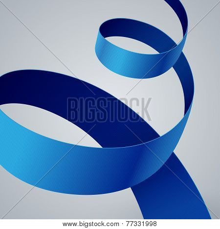 Blue fabric curved ribbon on grey background