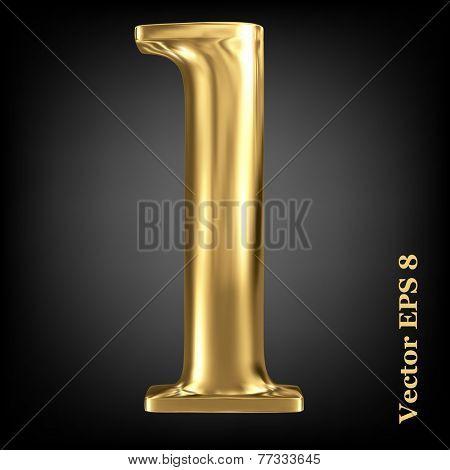 Golden shining metallic 3D symbol lowercase letter l, vector EPS8