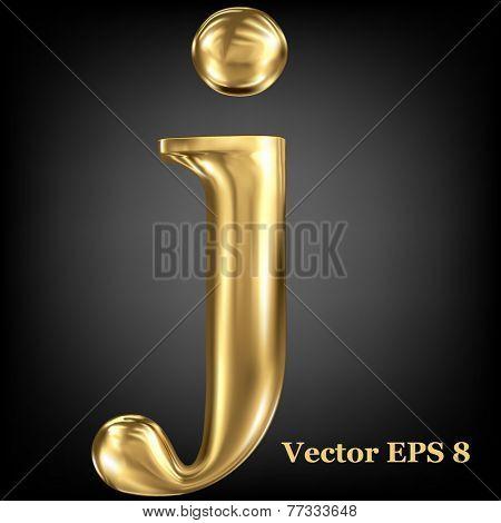 Golden shining metallic 3D symbol lowercase letter j, vector EPS8