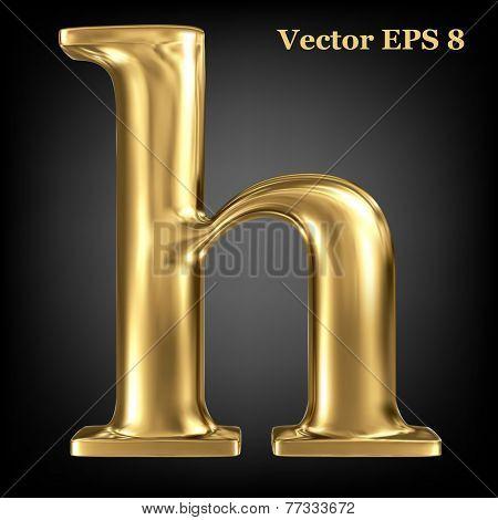 Golden shining metallic 3D symbol lowercase letter h, vector EPS8