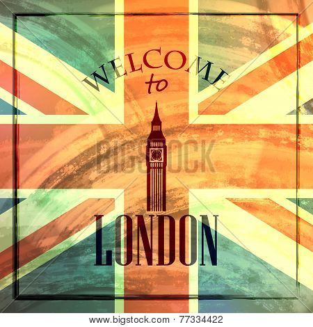 abstract vintage background for web or print design. illustration with big ben icon.