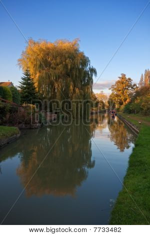 Canal Reflections At Sunset In Autumn