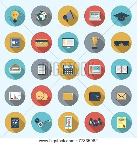 Set of modern icons in flat design with long shadows and trendy colors for web, mobile applications, business, social networks etc. Raster illustration