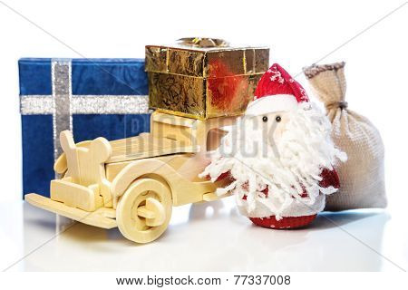 Santa Claus With Wooden Car, Gift Boxes And Sack