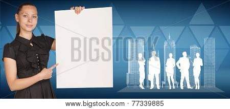 Businesswoman holding empty paper sheet, spatial layouts of buildings and people silhouettes. Triang