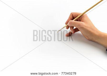 Hand Holding Brush, Isolated On White Background